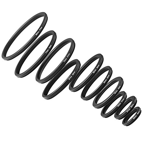 Neewer 10 Piezas Set de Anodizado Negro Metal Step-Down Adaptador de Anillo Incluyendo 82-77mm, 77-72mm, 72-67mm, 67-62mm, 62-55mm, 55-52mm, 52-43mm, 43-37mm, 37-30mm, 30-26mm