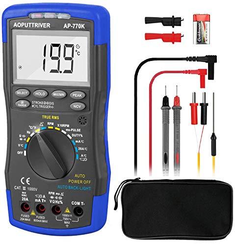 Multimetro Digital AP-770K Multímetro Automotriz 6000 Cuentas Multimetro Digital Profesional Automatico para NCV Ángulo de Permanencia Ancho de Pulso Tach Temperatura Ciclo de Trabajo Resistencia
