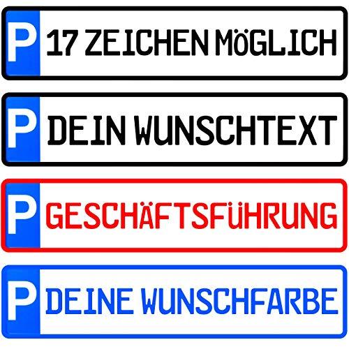 L & P Car Design Kennzeichen 1 Stück Parkplatzkennzeichen 17 Zeichen möglich Parkplatzschild individuell Wunschtext/Farbe/Bohrung/Parkplatz Kunden Besucher Privat Wunschprägung