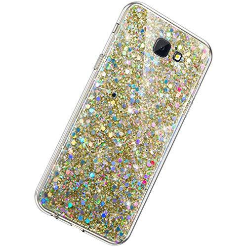 Herbests Kompatibel mit Samsung Galaxy J4 Plus 2018 Hülle Bling Glänzend Strass Diamant Handyhülle Silikon Hülle Crystal Case Durchsichtig Schutzhülle Transparent TPU Ultradünn Handytasche,Gold
