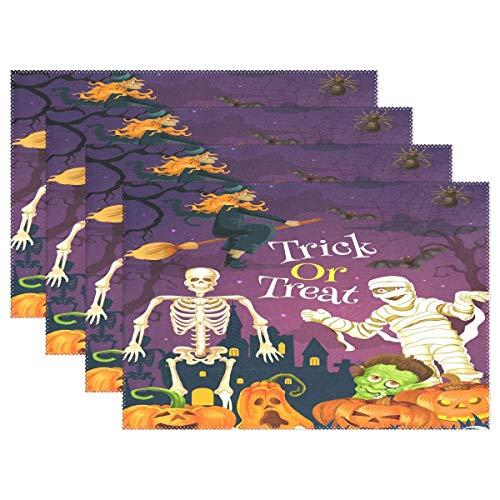 Trick or Treat Halloween Tischsets für Esstisch 4er-Set Kürbisschädel Hexenburg Küche Tischmatten waschbar Hitzebeständig Fleckenabweisend rutschfest Tischset 30,5 x 45,7 cm leicht zu reinigen