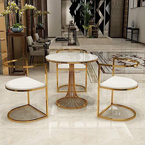 MEI XU Mesa y Juego de sillas, mármol Simple Balcón Negociación Mesa Redonda Pequeño Patio Mesa de Ocio y Combinación Silla, 3 Combinaciones Opcional @ (Color : 1 Table and 3 Chairs)