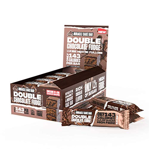 The Lo-Dough Miracle Cake Bar - Double Chocolate Fudge Flavour. Box of 10 x 60g Bars. Only 143 Calories Per Bar