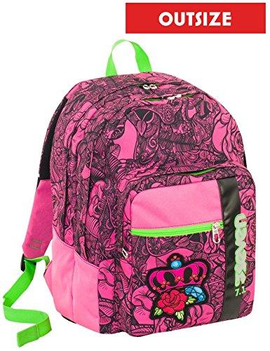 Zaino scuola Outsize SEVEN - ROSES GIRL - Rosa - 33 LT - inserti rifrangenti