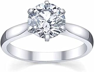 Dazzlingrock Collection IGI Certified 1.00 Carat (ctw) 14K Round Diamond Ladies Bridal Engagement Solitaire Ring 1 CT, Whi...