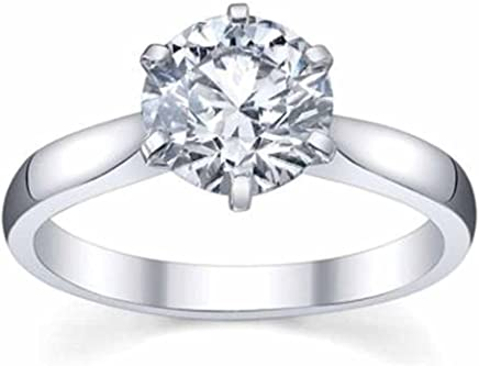 IGI Certified 1.00 Carat (ctw) 14K White Gold Round Diamond Ladies Bridal Engagement Solitaire Ring 1 CT