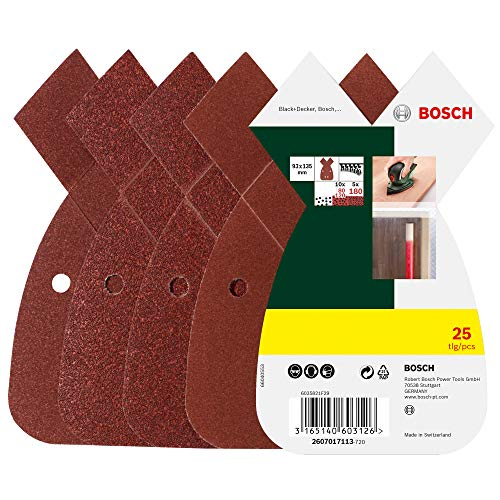 Bosch 2607017113 25-Piece Sanding Sheet Set for Multi-Sanders, grit 80, 120, 180, Red