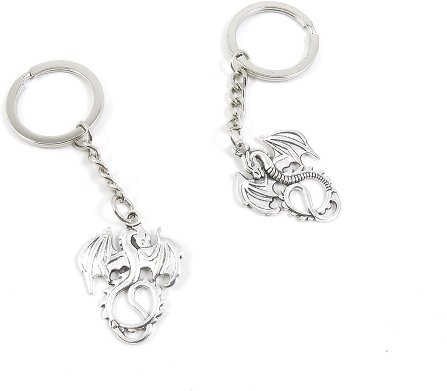 100 Pieces Keychain Keyring Door Car Key Chain Ring Tag Charms Bulk Supply Jewelry Making Clasp Findings S8IV1X Dragon