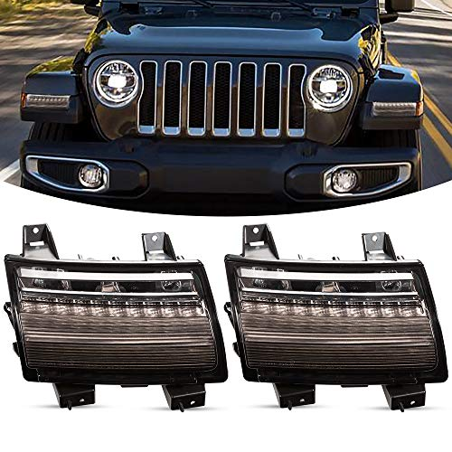 BUNKER INDUST JL Fender Light, LED White DRL with Amber Sequential Turn Signal Compitable for Jeep Wrangler 2018 2019 2020 Sahara Rubicon Models Front Wheel Eyebrow Light,Smoke Lens(USA Version)