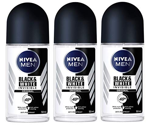 Nivea for Men Deodorant Roll On 1.69 oz (Invisible B&W Power) Pack of 3 by Nivea