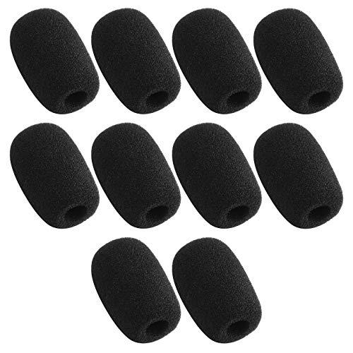 10 Piece Black L 35mm x D10mm Mini Microphone Headset Windscreen Foam Mic Cover