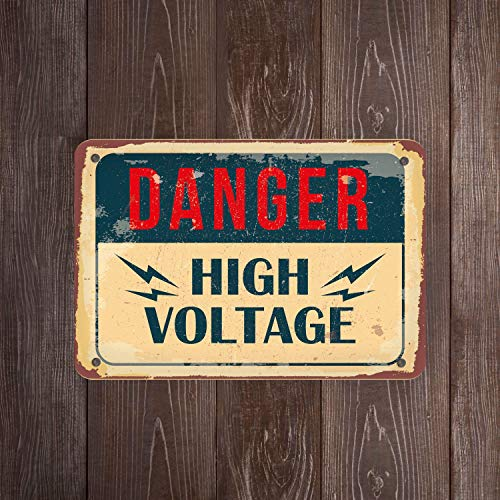 Cartel de Metal con Texto en inglés Danger High Voltage Danger Signs Danger Prints Custom con Texto en inglés Warning Sign Metal High Voltage Metal Sign Print de 8 x 12 Pulgadas