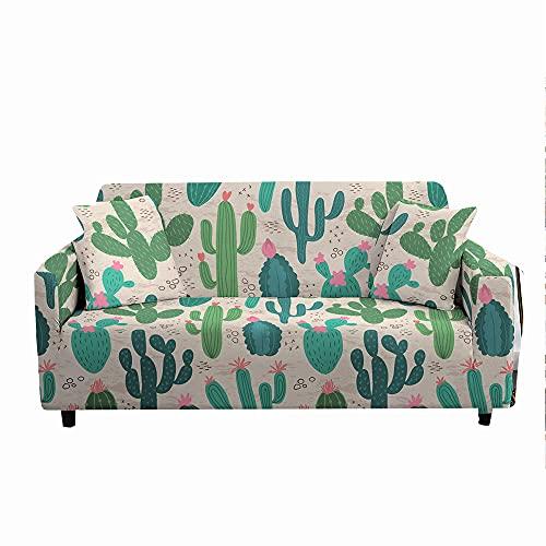 Funda para Sofá Elástica de 1/2/3/4 Plazas, Chickwin Universal Cactus Impresión Antideslizante Tejido Elástico Lavable Extensible Cubierta Protector de Sofá (Cactus Verde,3 plazas)