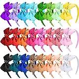SIQUK 24 Piezas Diademas con Lazo Niña Diademas de Cinta para Niña, 24 Colores