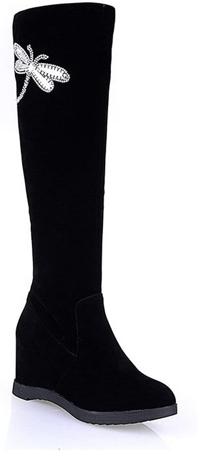 WeenFashion Women's Close Round Toe Solid Frosting Boots with Metal Ornament