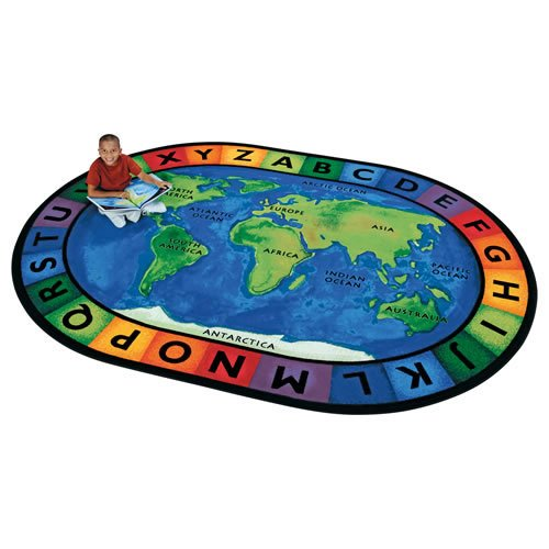 Carpets for Kids 4106 Printed Circletime Around The World Kids Rug Size: Oval 6'9' x 9'5',Multicolored
