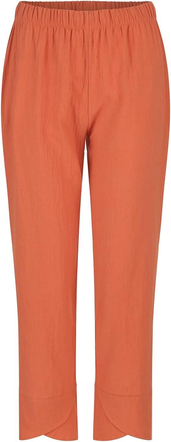 Suncih Women Pants Casual High Waist Solid Summer Cotton Loose Long Straight Pants