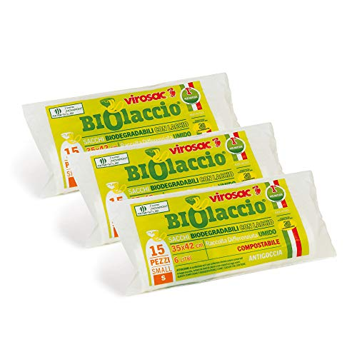 Virosac - Biolaccio - Sacchetti per rifiuti biodegradabili con laccio brevettato 35x42, 15 pezzi per rotolo, kit da 3 rotoli
