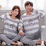 YYXJLG Pijama,Autumn Winter Pajamas for Couples Sleepwear Set Lovers Stripe Printing Long Sleeved Pyjamas For Men Women Fashion Pijamas Suit,Girl,M