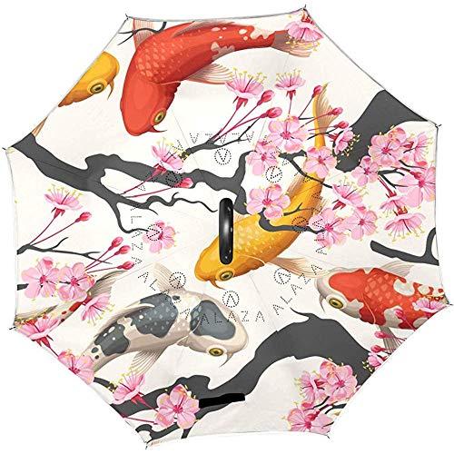 Paraplu, omgekeerd, motief karper, Cyprinoïd, Koi Sakura, kersenbloesem, bloem, Chinese stijl, roze