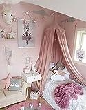 Restbuy Kinder Betthimmel Baldachin aus Baumwolle Mückenschutz Moskitonetz Insektenschutz Baby indoor Play Lesen Zelt Dekoration für Bett und Schlafzimmer (Korallenrosa)