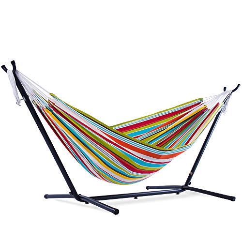C9POLY10 with Space Saving Steel Stand Vivere 9ft Double Polyester Hammock (450 lb Capacity-Premium...