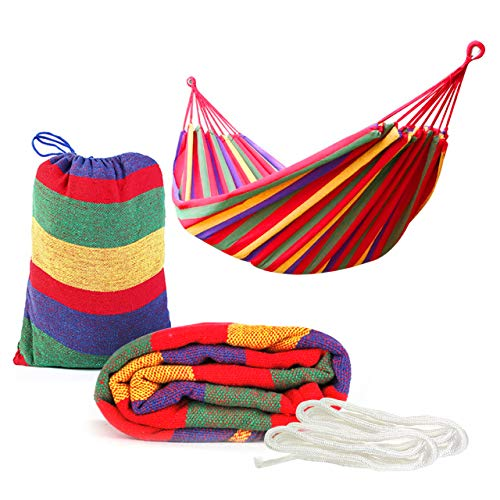Portable Hammock, 270x150cm (Max Load 150kg) - Tightly Woven, Sturdy End Loops, Strong Support Ropes| Garden Camping Outdoor Travel Beach Hammock with Carrying Bag.