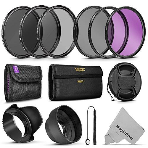 58MM Vivitar UV CPL FLD Filters, Altura Photo ND Filter Set, Collapsible Rubber Lens Hood, Tulip Lens Hood Bundle for Lenses with a 58mm Filter Size
