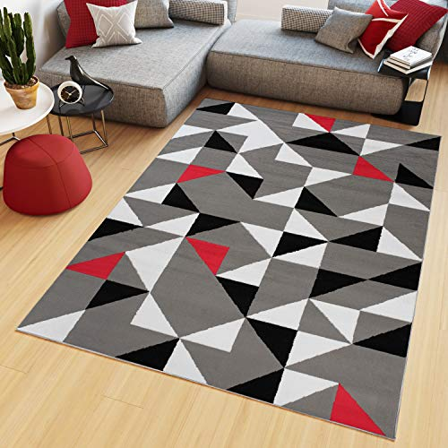 TAPISO Maya Tapis de Salon Chambre Ado Design Moderne Rouge Gris Blanc Noir Triangle Géométrique Mosaïque Fin 160 x 220 cm