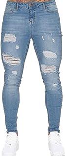 Aiweijia メンズホールジーンズファッションハイウエストスキニーウォッシャブル男性ティーンペンシルパンツストレッチロングパンツ