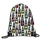 uykjuykj Bolsos De Gimnasio,Mochilas,Pug Hat Sackpack Drawstring Backpack Waterproof Gymsack Daypack For Men Women Fruits bottle8 Lightweight Unique 17x14 IN