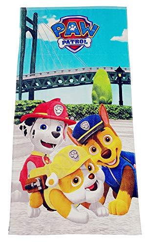 Toalla Paw-Patrol 70x140 cm para niños, confeccionada en 100% algodón, Marshall y Rubble, Oeko Tex Standard 100.