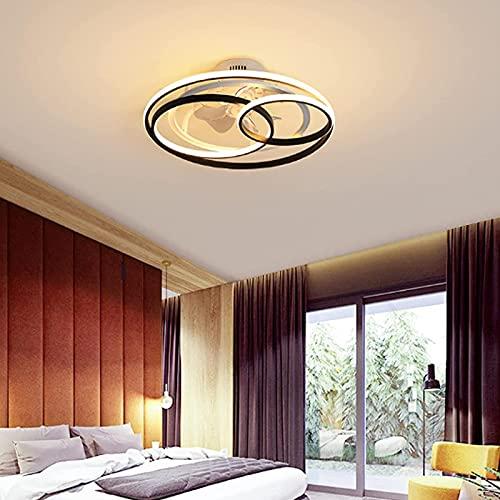 RR&LL Moderno ventilador de techo LED, luces de ventilador de techo de hoja invisible con control remoto de 3 colores, luces de techo empotradas en dormitorio, comedor y sala de estar