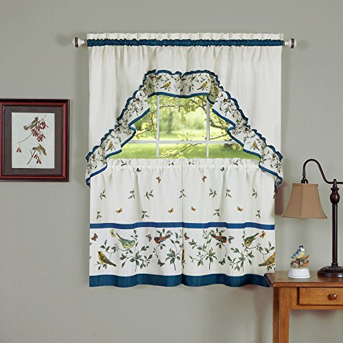 Naturally Home Love Birds Royal Kitchen and Dining Curtain Tier and Swag Set, 57 by 36-Inches