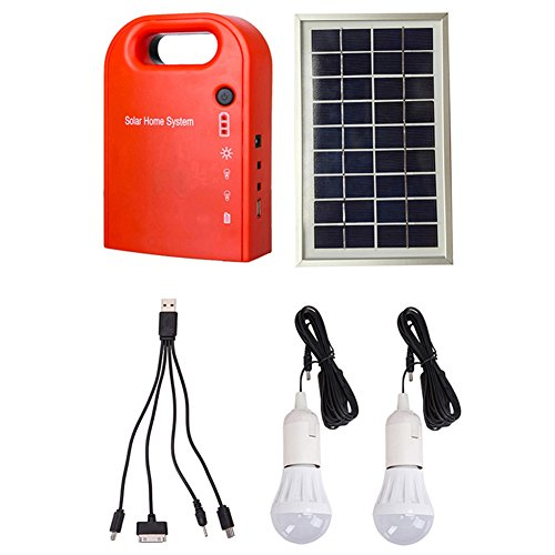 GutReise Portable Home Outdoor Small DC Solar Panels Charging Generator Power Generation System 4.5Ah / 6V Batteries with 6000K-6500K White LED Bulb and Mobile Phone Charging Function
