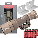SureFire M300C Compact LED WML Weapon Mounted Light Scout Flashlight 500 Lumens Z68 Tan Bundle with 8 Extra CR123A Batteries and 2 Lightjunction Battery Boxes