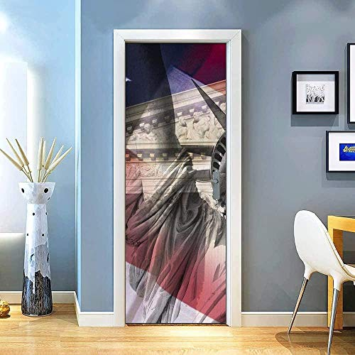 JJBWZX Pegatinas De Puerta Mural 3D Door Sticker La Estatua Retro De La Libertad Es Simple En Arquitectura 77X200Cm Papel Autoadhesivo Vinilo Etiqueta De La Pared Arte Adhesivo Puerta Dormitorio Baño