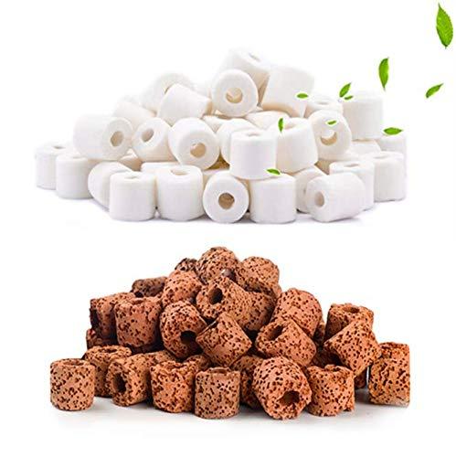QUCHENG Anelli di filtrazione ceramici organici per Tutti i Tipi di acquari e bacini 950 g (Bianco 500 g + Rosso 450 g)