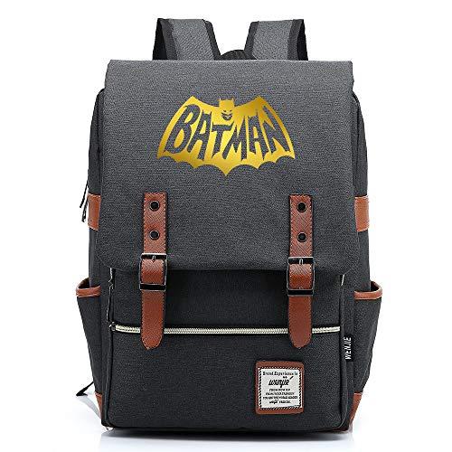 Batman The Dark Knight The Bat Rucksack Herren Schulrucksack, Laptop-Rucksack für Jungen Mädchen Für 14-Zoll-Laptop 16inch Unisex Leichte 17L College-Rucksack Daypack (Dunkelgrau,03)