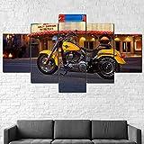 Decoración De Arte De Pared 5 Piezas Imprime En Lienzo Motocicleta Fat Boy Bike HD Cuadro Estilo Abstractos Moderna Inicio Decoración Lienzos Listo para Colgar(con Marco)