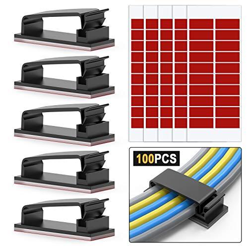 100 Stück Kabel-Clips, 3M Selbstklebende Kabelschellen, Drahthalter, Kabel Management, Kabelklemme, Ethernet-Kabel-Organizer, Desktop-Kabel-Halter, Management-System für TV, PC, Laptop, Heimbüro