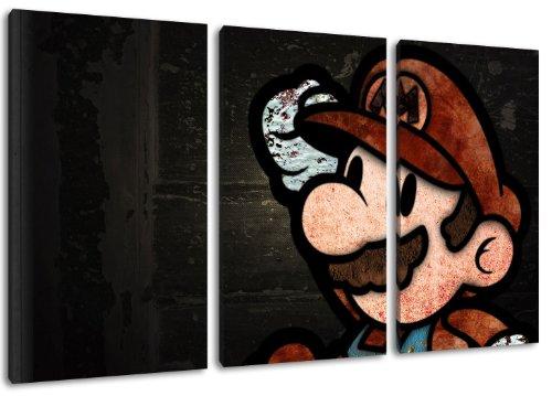 Dark Super Mario 3-delig op canvas - Totaal formaat: 120x80 cm kant-en-klare kunstdruk afbeeldingen als muurschildering - Goedkoper dan een olieverfschilderij of schilderij - GEEN poster of affiche