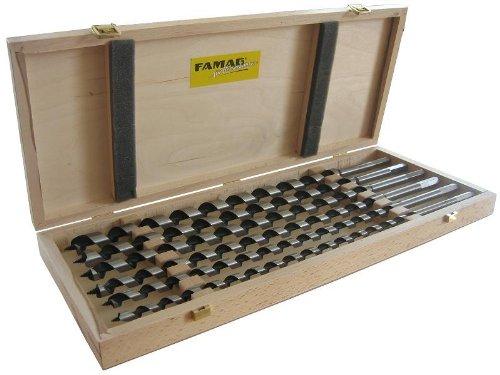 FAMAG Lewisbohrer-Satz im Holzkasten, 6-teilig Ø10,12,14,16,18,20mm, Gesamtlänge 460mm
