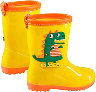 Hopscotch Boys and Girls PVC Animal Applique Rain Boots in Yellow Color