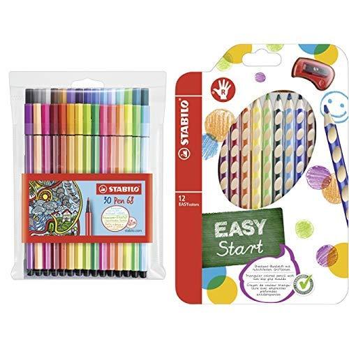Premium-Filzstift - STABILO Pen 68 - 30er Pack - inklusive 6 Neonfarben und Ergonomischer Buntstift für Rechtshänder - STABILO EASYcolors - 12er Pack mit Spitzer