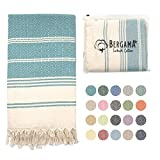 BERGAMA Turkish Beach Towel   100% Cotton, Prewashed, 38 x 71 Inches   Quick Dry, Sand Free, Lightweight   Large Bath Towel for Beach, Pool, Bathroom, SPA, Gym, Picnic and Yoga Blanket (Aqua Blue)