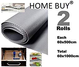 HOME BUY Multipurpose Textured Strong Anti-Slip/Skid Eva Mat Liner (Grey, Size -60 x 1000 cm) -Set of 2 x 5 Meter Rolls