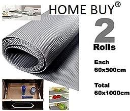 HOME BUY Multipurpose Textured Strong Anti-Slip/Skid Eva Mat Liner (Grey, Size -60 x 1000 cm) -Set of 2 x 5 Meter Rolls