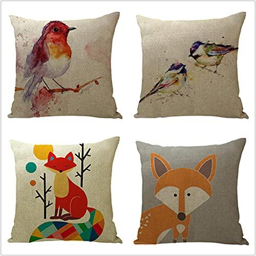 Juego de 4 Cuadrada Fundas de cojín Lino de algodón Throw Cojín Decorativas Zorro Naranja para sofá Cama Dormitorio decoración 50x50cm(20x20in)