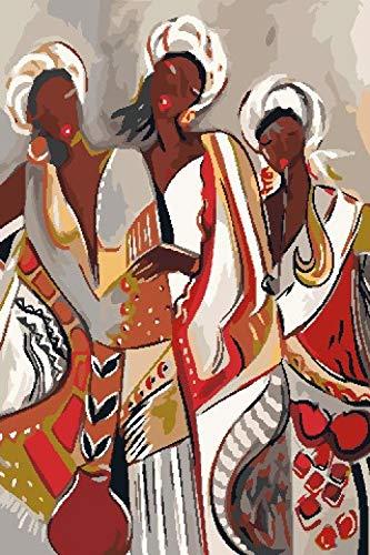 Pintar por Numeros Adultos Niños Mujer Africana Cuadros por Numeros con Pinceles Lienzo y Pinturas Acrilicas, DIY Kit Conjunto Completo de Pinturas para el Hogar Cuadros(40 * 50cm, Sin Marco)
